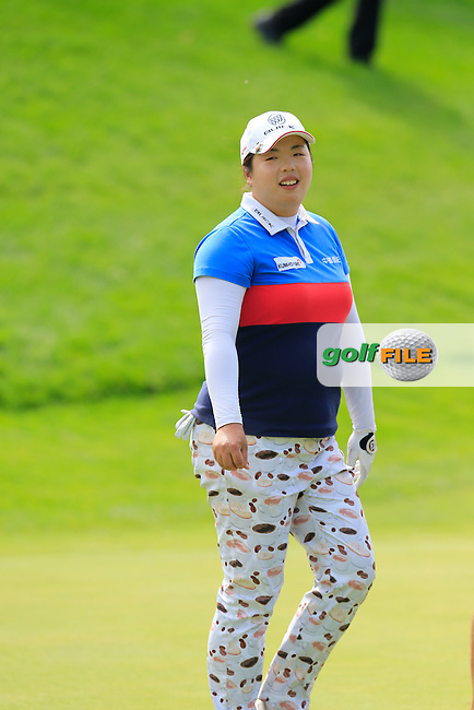 Shanshan Feng (CHN) putts on the 12th green during Sunday's Final Round of the LPGA 2015 Evian Championship, held at the Evian Resort Golf Club, Evian les Bains, France. 13th September 2015.<br /> Picture Eoin Clarke | Golffile