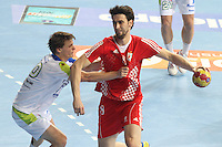 25.01.2013 Barcelona, Spain. IHF men's world championship, 3º/4º place. Picture show Marko Kopljar in action during game between Slovenia vs Croatia at Palau St. Jordi