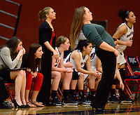 SRJC head coach Lacey Campbell reacts to a close call during a Big 8 Conference women's basketball game between Santa Rosa Junior College and San Joaquin Delta College  in Santa Rosa, Calif., on January 10, 2014. (Alvin Jornada / The Press Democrat)