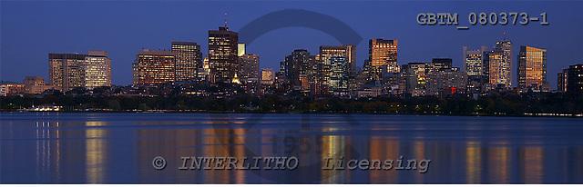 Tom Mackie, LANDSCAPES, panoramic, photos, Boston Skyline at Twilight, Massachusetts, USA, GBTM080373-1,#L#