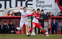 Francesco Antonucci of AS Monaco FC Youth & Oliver Skipp of Spurs U19 during the UEFA Youth League round of 16 match between Tottenham Hotspur U19 and Monaco at Lamex Stadium, Stevenage, England on 21 February 2018. Photo by Andy Rowland.