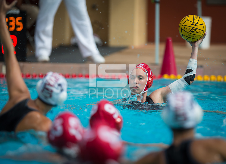 STANFORD, CA - March 23, 2019: Madison Berggren at Avery Aquatic Center. The #2 Stanford Cardinal took down the #18 Harvard Crimson 20-7.