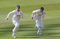 Simon Harmer (left) and Daniel Lawrence of Essex enjoy a sprint between overs during Warwickshire CCC vs Essex CCC, Specsavers County Championship Division 1 Cricket at Edgbaston Stadium on 10th September 2019