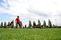 Wales Women Players in action during the Wales Women Training Session at the Cardiff International Sports Stadium in Cardiff, Wales, UK. Monday 03 June 2019