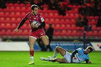 Kieran Hardy of Scarlets in action during the European Rugby Challenge Cup Round 4 match between the Scarlets and Bayonne at the Parc Y Scarlets in Llanelli, Wales, UK. Saturday 14 December 2019