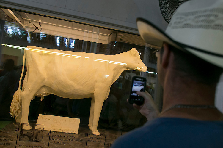 UNITED STATES - August 17: A man uses his mobile phone to take a photograph of the Butter Cow at the Iowa State Fair in Des Moines, Iowa, Monday, August 17, 2015. The Butter Cow is a staple of the Iowa State Fair since 1911 and this year other butter sculptures include an oversized Monopoly game board and Monopoly mascot Rich Uncle Pennybags, in honor of the 80th anniversary of the game. (Photo By Al Drago/CQ Roll Call)