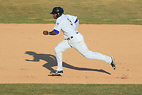 Wisconsin Timber Rattlers outfielder Monte Harrison (3) takes off for second during a game against the Peoria Chiefs on April 12th, 2015 at Fox Cities Stadium in Appleton, Wisconsin.  Peoria defeated Wisconsin 11-1.  (Brad Krause/Four Seam Images)