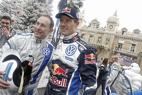 21.01.2016. Monte Carlo, Monaco. The Monte Carlo Rally 2016. The presentation of the cars and drivers in Monaco.  Sebastien Ogier (FRA), Volkswagen Motorsport WRC with jean pierre papin