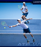 Bob and Mike Bryan of the USA (5) in action during their victory over Jamie Murray of Great Britain and Bruno Soares of Brazil (4) - Bob and Mike Bryan def Murray/Soares 7-5, 6-7(3), 10-8<br /> <br /> Photographer Ashley Western/CameraSport<br /> <br /> International Tennis - Nitto ATP World Tour Finals - O2 Arena - London - Day 2  - Monday 13th November 2017<br /> <br /> World Copyright &not;&copy; 2017 CameraSport. All rights reserved. 43 Linden Ave. Countesthorpe. Leicester. England. LE8 5PG - Tel: +44 (0) 116 277 4147 - admin@camerasport.com - www.camerasport.com