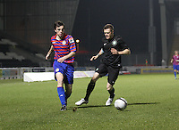 Sean Kelly gets the better of Denny Johnstone in the St Mirren v Celtic Clydesdale Bank Scottish Premier League U20 match played at St Mirren Park, Paisley on 18.12.12.