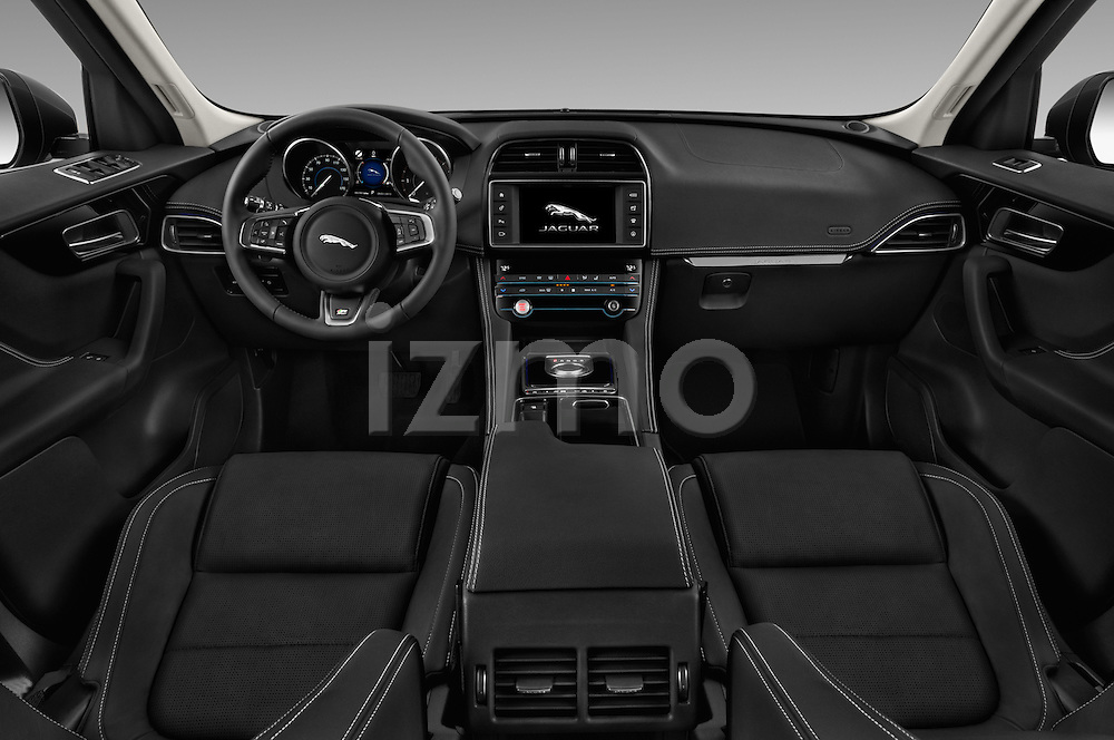 Stock photo of straight dashboard view of 2018 Jaguar F-PACE 20d-R-Sport-AWD 5 Door SUV Dashboard