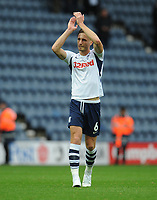 Preston North End's Ben Davies applauds fans at full time<br /> <br /> Photographer Kevin Barnes/CameraSport<br /> <br /> The EFL Sky Bet Championship - Preston North End v Barnsley - Saturday 5th October 2019 - Deepdale Stadium - Preston<br /> <br /> World Copyright © 2019 CameraSport. All rights reserved. 43 Linden Ave. Countesthorpe. Leicester. England. LE8 5PG - Tel: +44 (0) 116 277 4147 - admin@camerasport.com - www.camerasport.com