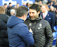 Everton manager Marco Silva greets Lincoln City manager Danny Cowley<br /> <br /> Photographer Andrew Vaughan/CameraSport<br /> <br /> Emirates FA Cup Third Round - Everton v Lincoln City - Saturday 5th January 2019 - Goodison Park - Liverpool<br />  <br /> World Copyright &copy; 2019 CameraSport. All rights reserved. 43 Linden Ave. Countesthorpe. Leicester. England. LE8 5PG - Tel: +44 (0) 116 277 4147 - admin@camerasport.com - www.camerasport.com