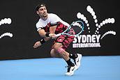 11th January 2018, Sydney Olympic Park Tennis Centre, Sydney, Australia; Sydney International Tennis,quarter final; Fabio Fognini (ITA) in his match against Adrian Mannarino (ITA)
