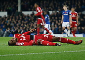 5th November 2017, Goodison Park, Liverpool, England; EPL Premier League Football, Everton versus Watford; Christian Kabasele of Watford lies injured after a collision with an Everton player