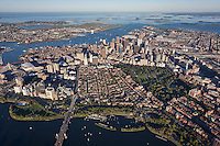 West End and Beacon Hill, aerial view over downtown, 2000 ft, Boston, MA with  Harbor