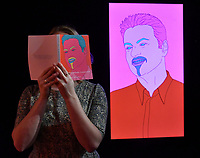 Michael Craig-Martin, Commissioned Portrait Untitled, (George), estimate &pound;40,000-60,000 at Christie&rsquo;s exhibition of art from the collection of the late George Michael, featuring works by Damien Hirst, Tracey Emin and Marc Quinn, from its upcoming The George Michael Collection Evening and Online Auctions, on view to the public from 9-15 March 2019. <br /> CAP/JOR<br /> &copy;JOR/Capital Pictures