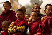 Buddhist monks chanting prayers during the Losar New Year ceremony inside a monastery in the Himalayan foothills of Sikkim, India