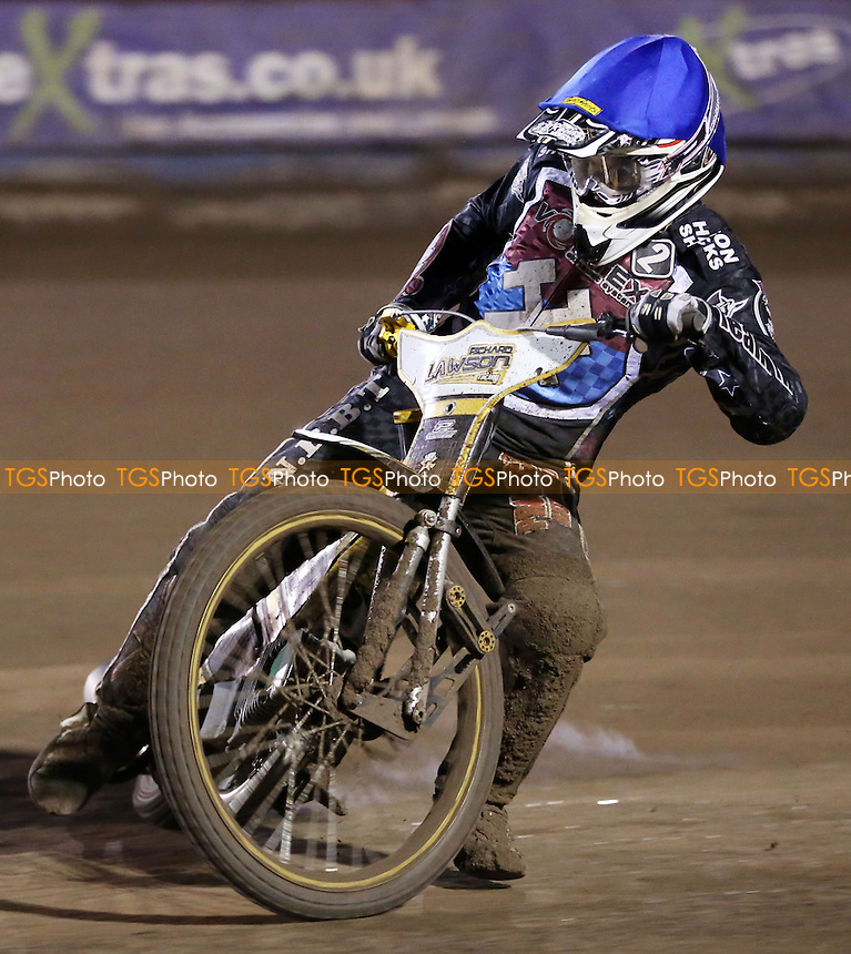 Richard Lawson of Lakeside Hammers - Lakeside Hammers vs Birmingham Brummies, Elite League Speedway at the Arena Essex Raceway, Pufleet - 11/04/14 - MANDATORY CREDIT: Rob Newell/TGSPHOTO - Self billing applies where appropriate - 0845 094 6026 - contact@tgsphoto.co.uk - NO UNPAID USE