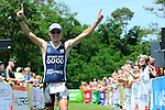 GER - Maxdorf, Germany, June 14: Julian Beuchert #5 (LAZ Triathlon Mosbach) celebrates his win at the 12. Maxdorfer Triathlon on June 14, 2015 at TSG Maxdorf in Maxdorf, Germany. (Photo by Dirk Markgraf / www.265-images.com) *** Local caption ***
