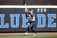 DURHAM, NC - FEBRUARY 29: Macie Eck #12 of the University of Notre Dame catches the ball during a game between Notre Dame and Duke at Duke Softball Stadium on February 29, 2020 in Durham, North Carolina.