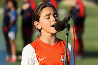 Piscataway, NJ - Saturday July 23, 2016: anthem singer prior to a regular season National Women's Soccer League (NWSL) match between Sky Blue FC and the Washington Spirit at Yurcak Field.