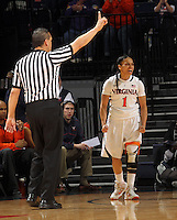 Virginia guard China Crosby (1) reacts to a call during an NCAA college basketball game in Charlottesville, Va. Duke defeated Virginia 62-41...