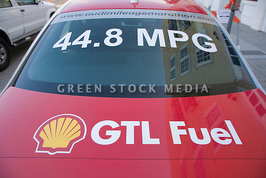 A close up of a red Audi car promoting Shell's GTL fuel (GTL stands for gas to liquids) and high fuel efficiency. The car took part in Audi's Mileage Marathon from New York to Los Angeles in October 2008. The was put on to demonstrate Audi's TDI system featuring ultra low emissions and high fuel efficiency.