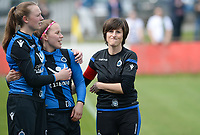 20180414 - AALTER , BELGIUM : Brugge's head coach Ingrid De Rycke pictured during the 21st matchday in the 2e Nationale Women's league , a womensoccer game between Club Brugge Dames and GFA Sinaai , in Aalter , saturday 15 th April 2018 . PHOTO SPORTPIX.BE | DAVID CATRY