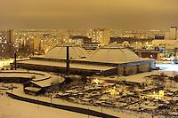 Nachtaufnahme Luftbild Winter Leipzig Stadtansicht - Kohlrabizirkus Kohlrabi-Zirkus / Alte Messe / brache / technisches Denkmal / Baudenkmal / Kuppel .Foto: Norman Rembarz .