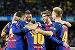 Luis Suarez of FC Barcelona (L) celebrates his goal with teammates during the La Liga 2017-18 match between FC Barcelona and Deportivo La Coruna at Camp Nou Stadium on 17 December 2017 in Barcelona, Spain. Photo by Vicens Gimenez / Power Sport Images