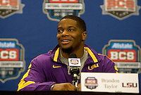 LSU Safety Brandon Taylor talks with the reporters during the LSU Defensive Press Conference at Marriott Hotel at the Convention Center on January 5th, 2011.