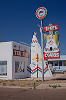 The Teepee Curios shop on Route 66 in Tucumcari, New Mexico.  The unique gift shot offers plenty of Route 66 souvenirs.