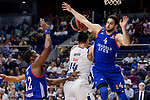 Real Madrid's Gustavo Ayon and Anadolu Efes's Bryant Dunston and Dogus Balbay during Turkish Airlines Euroleague match between Real Madrid and Anadolu Efes at Wizink Center in Madrid, April 07, 2017. Spain.<br /> (ALTERPHOTOS/BorjaB.Hojas)