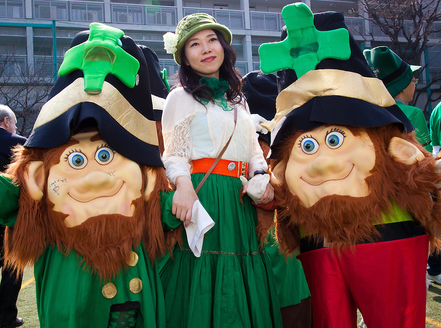 Pretty Japanese girl with Leprechauns.