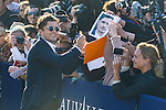 Orlando Bloom is seen during the inauguration of a beach cabin in the 41st Deauville American Film Festival on September 6, 2015 in Deauville, France.