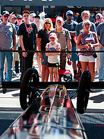 Jul 21, 2019; Morrison, CO, USA; Fans at the pit area of NHRA top fuel driver Leah Pritchett during the Mile High Nationals at Bandimere Speedway. Mandatory Credit: Mark J. Rebilas-USA TODAY Sports