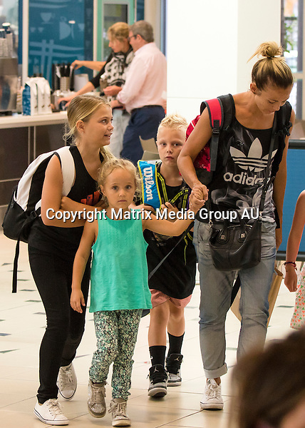 24 OCTOBER 2015 QLD<br /> AUSTRALIA<br /> <br /> EXCLUSIVE PICTURES<br /> <br /> Bec and Lleyton Hewitt pictured with their kids, Mia, Cruz and Ava at Sunshine Coast airport. <br /> <br /> *ALL WEB USE MUST BE CLEARED*<br /> <br /> Please contact prior to use:  <br /> <br /> +61 2 9211-1088 or email images@matrixmediagroup.com.au <br /> <br /> Note: All editorial images subject to the following: For editorial use only. Additional clearance required for commercial, wireless, internet or promotional use.Images may not be altered or modified. Matrix Media Group makes no representations or warranties regarding names, trademarks or logos appearing in the images.