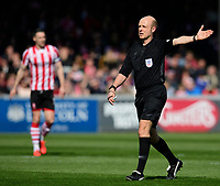 Referee Nicholas Kinseley<br /> <br /> Photographer Chris Vaughan/CameraSport<br /> <br /> The EFL Sky Bet League Two - Lincoln City v Cheltenham Town - Saturday 13th April 2019 - Sincil Bank - Lincoln<br /> <br /> World Copyright © 2019 CameraSport. All rights reserved. 43 Linden Ave. Countesthorpe. Leicester. England. LE8 5PG - Tel: +44 (0) 116 277 4147 - admin@camerasport.com - www.camerasport.com