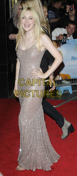 Dakota Fanning.'Now Is Good' - European Premiere arrivals, Curzon Mayfair Cinema, London, England..13th September, 2012.full length beige silver sequins sequined dress sleeveless hand on hip mouth open.CAP/CAN.©Can Nguyen/Capital Pictures.