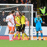 Burton Albion's Jamie Allen, centre, celebrates scoring his side's second goal with team-mates Liam Boyce, left, and Lucas Akins<br /> <br /> Photographer Chris Vaughan/CameraSport<br /> <br /> The EFL Sky Bet League One - Burton Albion v Blackpool - Saturday 16th March 2019 - Pirelli Stadium - Burton upon Trent<br /> <br /> World Copyright &copy; 2019 CameraSport. All rights reserved. 43 Linden Ave. Countesthorpe. Leicester. England. LE8 5PG - Tel: +44 (0) 116 277 4147 - admin@camerasport.com - www.camerasport.com