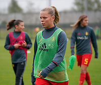 20191101 - Tubize: Belgian Amy Littel pictured during the warming up of  the international friendly match between Red Flames U16 (Belgium) and Norway U16 on 1 November 2019 at Belgian Football Centre, Tubize. PHOTO:  SPORTPIX.BE | SEVIL OKTEM