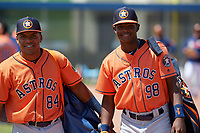 Houston Astros Gerry Castillo (84) and Freudis Nova (98) before a Minor League Spring Training Intrasquad game on March 28, 2019 at the FITTEAM Ballpark of the Palm Beaches in West Palm Beach, Florida.  (Mike Janes/Four Seam Images)