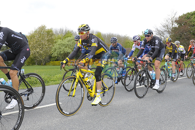 The peloton including defend champion Thomas Voeckler (FRA) Direct Energie in action during Stage 1 of the Tour de Yorkshire 2017 running 174km from Bridlington to Scarborough, England. 28th April 2017. <br /> Picture: ASO/P.Ballet | Cyclefile<br /> <br /> <br /> All photos usage must carry mandatory copyright credit (&copy; Cyclefile | ASO/P.Ballet)