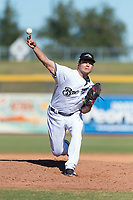 Peoria Javelinas relief pitcher Jon Olczak (29), of the Milwaukee Brewers organization, delivers a pitch during an Arizona Fall League game against the Scottsdale Scorpions at Peoria Sports Complex on October 18, 2018 in Peoria, Arizona. Scottsdale defeated Peoria 8-0. (Zachary Lucy/Four Seam Images)