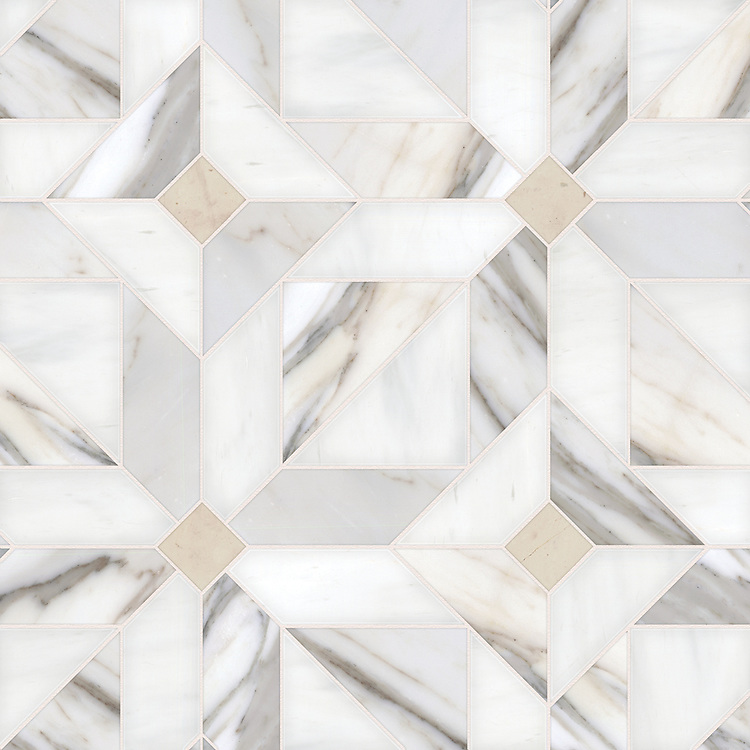 Rubrik large, a hand-cut stone mosaic, shown in honed Calacatta, Dolomite, and Bianco Antico, is part of the Parquet Line by New Ravenna.