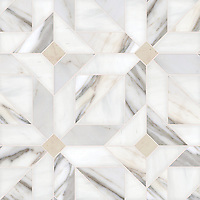 Rubrik large, a hand-cut stone mosaic, shown in honed Calacatta, Dolomite, and Bianco Antico.