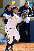 13 February 2010:  FIU's Patty Zavala (14) throws to second as the FIU Golden Panthers defeated the University of Illinois (Chicago) Flames, 2-1, at the University Park Stadium in Miami, Florida.