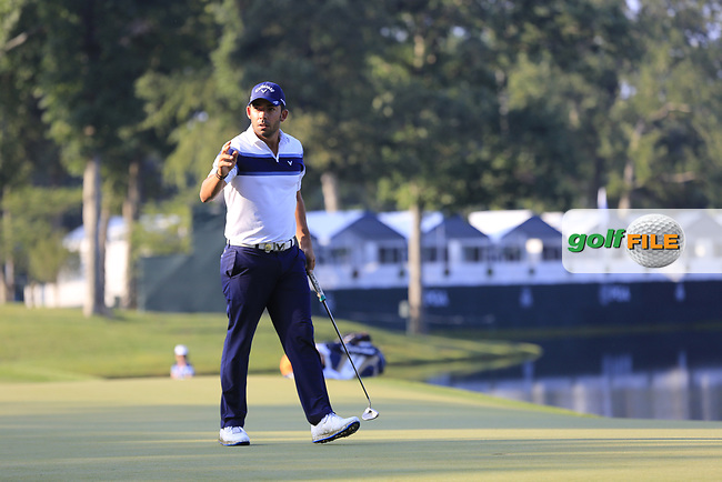 Pablo Larrazabal (ESP) sinks his birdie putt on the 14th green during Thursday's Round 1 of the 2017 PGA Championship held at Quail Hollow Golf Club, Charlotte, North Carolina, USA. 10th August 2017.<br /> Picture: Eoin Clarke | Golffile<br /> <br /> <br /> All photos usage must carry mandatory copyright credit (&copy; Golffile | Eoin Clarke)