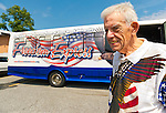 AUG. 11, 2012 - MERRICK, NEW YORK, U.S. - ROBERT TOM RIORDAN, a New York State Veteran's Hall of Fame member and Adjutant of American Legion Merrick Post 1282, sends off the post's guest at end of barbecue it hosted for vets from Long Island State Veterans Home at Stony Brook University. A Freedom Express bus, patriotically decorated in red, white and blue, transported guest to and from the event.